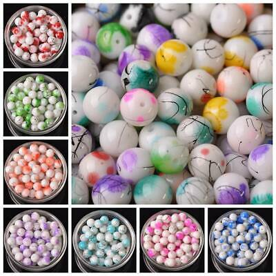 10pcs 12mm Round Glass Spots Opaque Loose Beads Jewelry Making Findings DIY Lot
