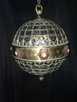 Chandelier -Antique Beveled Leaded Glass, Bronze and Brass -Circa 1875