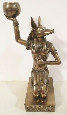 2000 VERONESE Bronze Tone ANUBIS Egyptian God Candle Holder