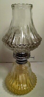 "Lamplight Farms Antique 2-Pc. Oil Kerosene Lamp With Wick Pressed Glass 13"" Tall"