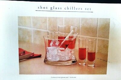 Shot Glass Chiller Set Pier One Imports Ice Bucket 6 Tall Shot Glasses Clear New