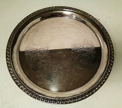 """Leonard Silver-plated Round Serving Tray 12"""" Embossed Stamped Ornate Roped Rim"""
