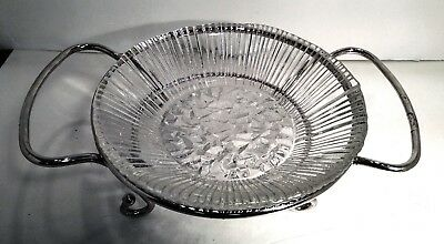 """Pressed Glass Ribbed Serving Bowl W/Silver Plated Stand 11"""" Thick Heavy Glass"""