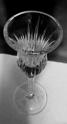 """Lead Crystal Taper Candleholder 8"""" Tall Hand-Cut Faceted Stem Ribbed Flared"""