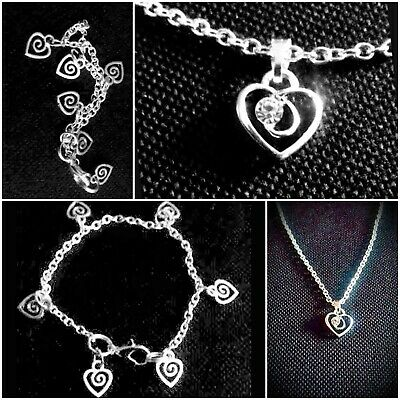 Little Girl's Silver Plated BRACELET And NECKLACE SET Swirl Hearts pretty Gift