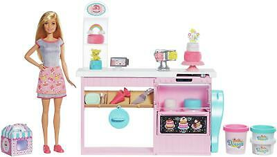 Barbie Cake Bakery Playset With Doll Play Kitchen Set Bake & Decorate Cakes NEW