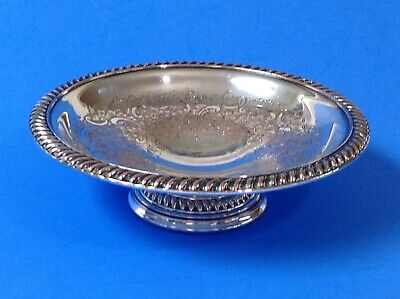 """Rare Antique Silverplate 1907 Barker Bros.silver Co. Scroll Engraving 6"""" Compote"""