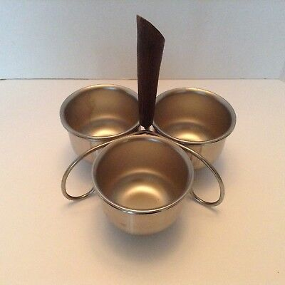 Mid-Century 4 Piece Condiment Serving Set Stainless Steel Wood Handle Retro Cool