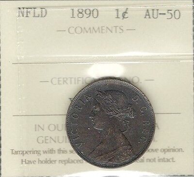 1890 Newfoundland Large Cent ICCS AU-50 Beautiful & SCARCE Victoria Nfld. Penny