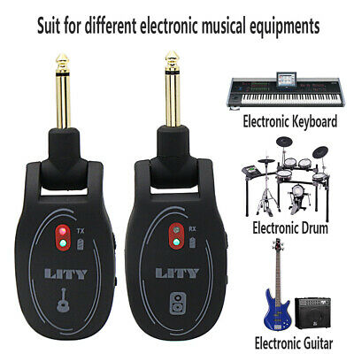 Rechargeable Battery Wireless Guitar System Transmitter & Receiver 50m Range
