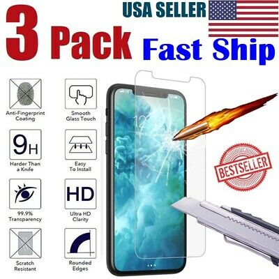 3-Pack For iPhone X Xs Max XR 8 7 6 6s 5 5s Plus Tempered GLASS Screen Protector