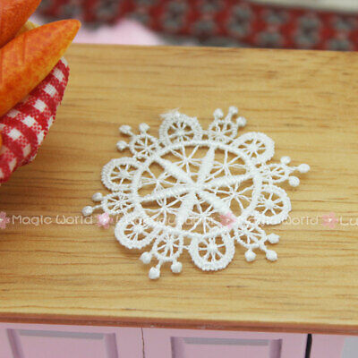 6PC x Tablecloth White Lace Openwork Mat Dollhouse Miniature 1:12 One Inch Scale