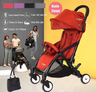 Red Compact Lightweight Baby Stroller Pram Easy Fold Travel Carry on Plane 2019