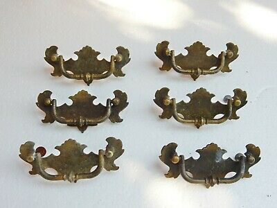 Antique Original Set of Six 6 Drawer Cabinet Pulls Bulk Job Lot Georgian Style