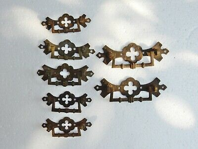 Antique Original Set of 7 Drawer Cabinet Pulls Bulk Job Lot Assorted Size Brass
