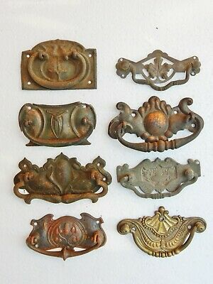 Antique Original Eight 8 Drawer Cabinet Pulls Bulk Job Lot Mixed Restorers Set