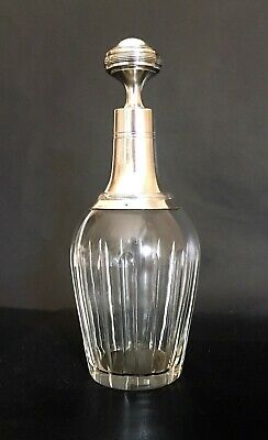 French Antique Sterling Silver & Crystal Decanter/Bottle – 1880's