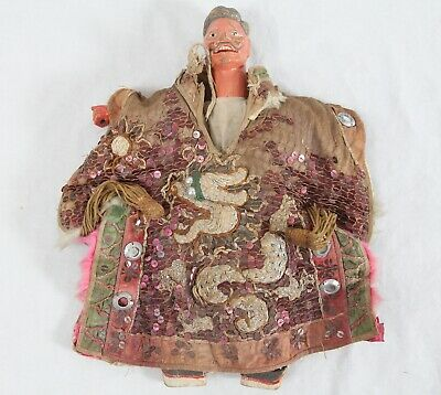 Antique Carved Wood Japanese Kabuki Puppet Marionette Doll Silk Dragon Kimono