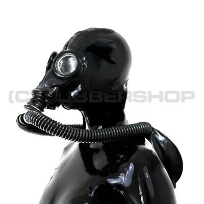 Gas Mask 7-Parts Rebreathing System For Latex Fetish Hood Gloves Catsuit Corset