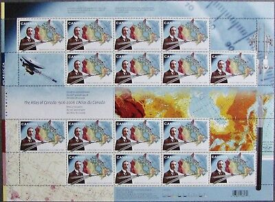 #2160 CANADA MNH Full Pane of 16 + Gutter: 51c Atlas of Canada Centenary