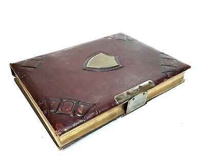 Antique 19th Century Large Leather bound Photo Album With Brass Shield