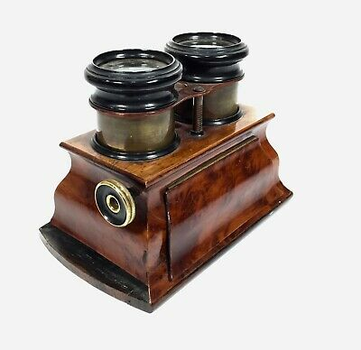 Antique Wooden Stereo Viewer / Stereoscope / Burr Walnut Wood / 19th Century