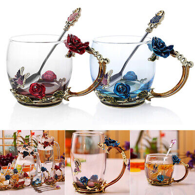 Enamel Spoon Coffee Tea Cup Mug Set 3D Rose Butterfly Glass Cups Wedding Gifts