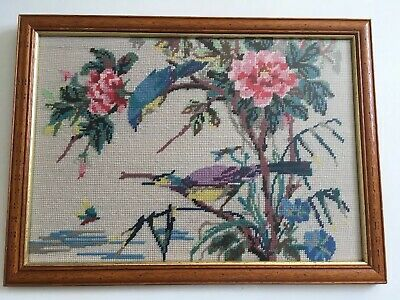 Lovely Vintage Framed Completed Tapestry Canvas Beautiful Oriental Birds
