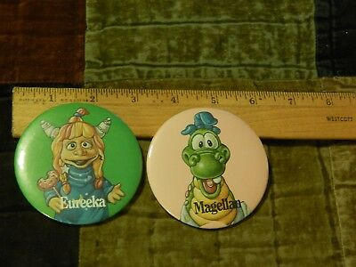 Eureeka's Castle (1990) Nickelodeon ~ Pizza Hut [LOT of 2] Character Buttons