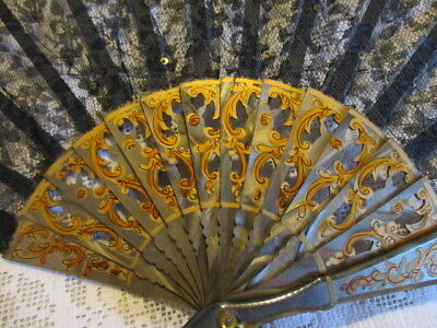 Three Vintage Fans from France, Black Lace, Spanish Dancers, Chinese Blossom