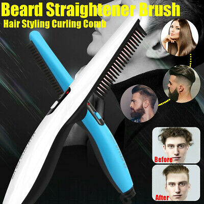 Men Electric Beard Straightener Brush Quick Hair Heat Comb Straightening Curling