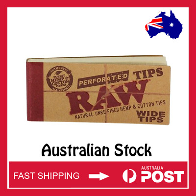 RAW Wide Natural Perforated Filter Tips Rolling Smoking Paper (AUSTRALIAN STOCK)
