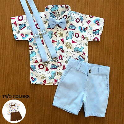 US Baby Boy Toddler Kids T-Shirt Top+ Shorts Pants 2PCS Outfit Summer Clothes