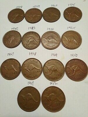 14 X Australian Penny coins , part set 1938 - 1952 king George VI ( no 1946 )