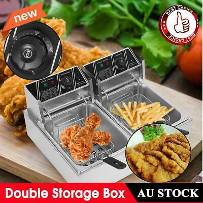Stainless Steel Commercial Deep Fryer Double Electric Basket Benchtop Cooker