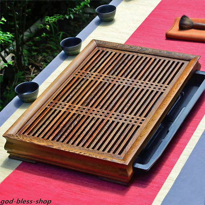 Wenge wood tea tray reservoir / water draining tea table solid wood serving tray