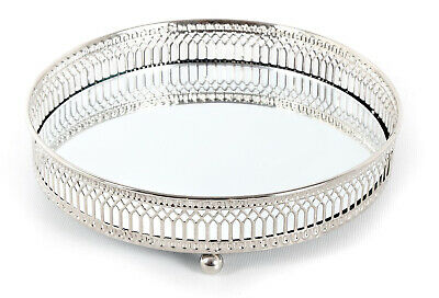 Display Tray Mirror Glass Antique Decorative Silver Candle Plate Medium 20cm Top