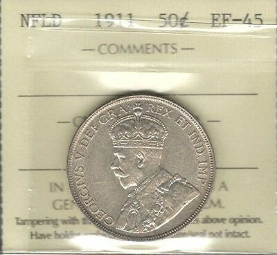 1911 Newfoundland Fifty Cents ICCS Graded EF-45 * HIGH Grade George V Nfld. Half