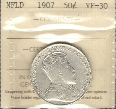1907 Newfoundland Fifty Cents ICCS VF-30 * HIGH Grade King Edward VII Nfld. Half