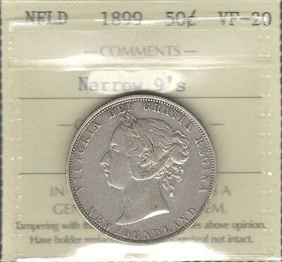 1899 N9 Newfoundland Fifty Cents ICCS Graded VF-20 HIGH Grade Victoria Nfld Half