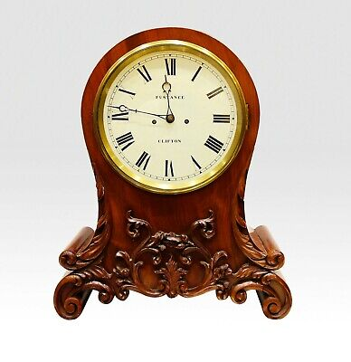 A Carved Mahogany Twin Fusee Mantle Clock Inscribed Fustance, Clifton