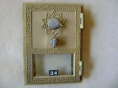 Vintage American Device 1960 Brass Post Office Box Door w/Key and Combination