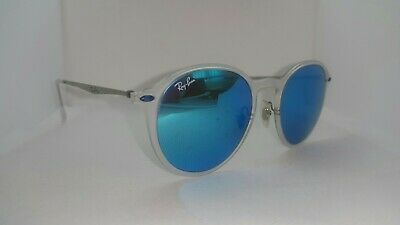 79c5f6f5a1a1 Ray-Ban RB4224 round light ray transparent frame blue mirrored sunglasses
