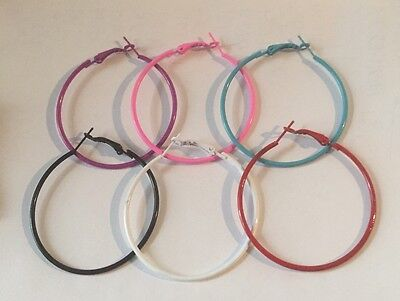 "Fun Colors Large 2"" Hoop Earrings Simple Thin Hoops Blue Black Red Pink Purple"
