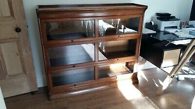 Antique Glazed Solicitors - Barristers - Double Width Sectional 3 Tier Bookcase