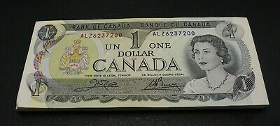 lot of 49 , Canada 1973 $1 Bank note Consecutive ALZ Crow Bouey