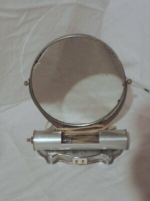 Vintage Chrome/Silver Tone Lighted Vanity Table Top 2 Mirror With Outlet