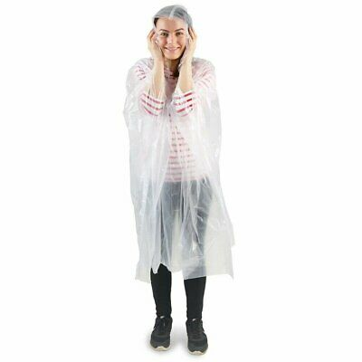 1/2/5x Disposable Adult Emergency Waterproof Rain Coat PONCHO Camping Hiking UK