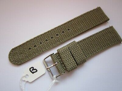 Gents 20mm  Khaki Coloured Nylon Military Style Watch Strap-Steel Buckle & Pins
