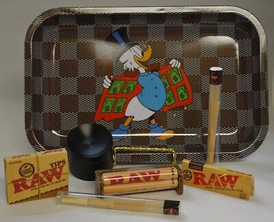 NEW Donald Rolling Tray Bundle RAW Roller Paper Tips Concave Grinder 2 Wrap Tube